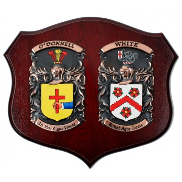 """Handpainted Double Family Crest Shield (Large 18""""x15"""")"""