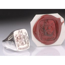 Full Family Coat of Arms Ring - Square Heraldic Seal Ring (Large)