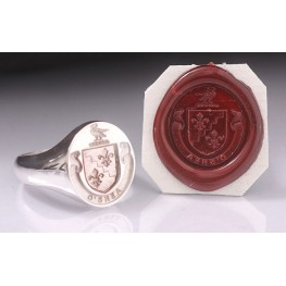 Full Family Coat of Arms Ring - Round Heraldic Seal Ring (Large)