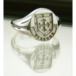 Family Coat of Arms Ring - Arms & Name Ribbon Ring  (Large)
