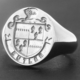 Family Coat of Arms Ring -  Arms, Mantle & Name Ribbon Ring (Large)
