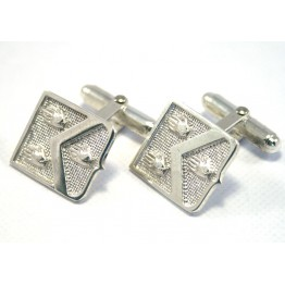 Family Coat of Arms Cufflinks - Sterling Silver Shield Shaped Cufflinks